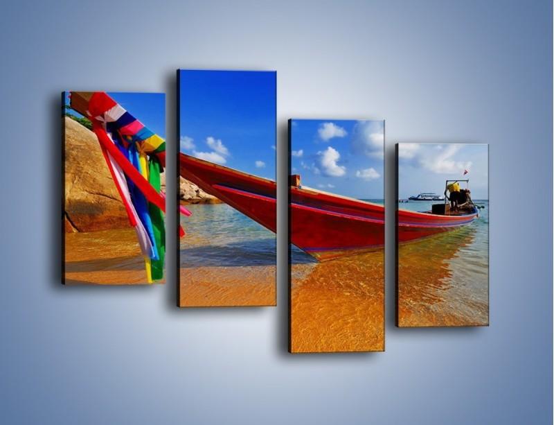 Obraz na płótnie – Kolorowa łódź na brzegu – czteroczęściowy KN415W2