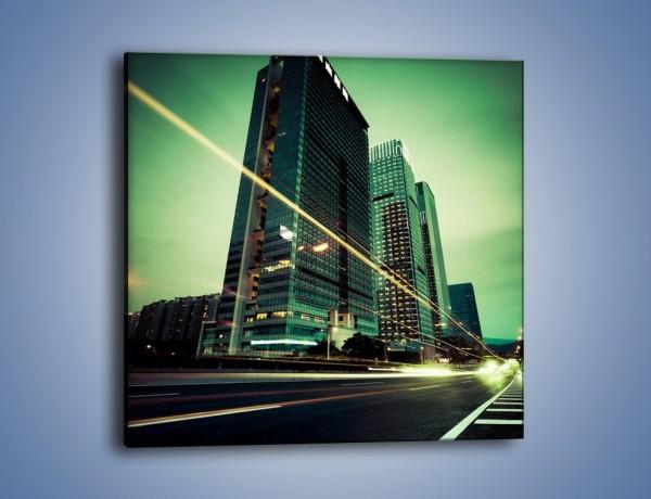 Obraz na płótnie – Wieżowce w zielonym odcieniu – jednoczęściowy kwadratowy AM129