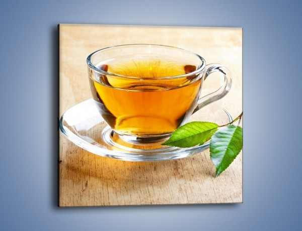 Obraz na płótnie – Listek mięty dla orzeźwienia herbaty – jednoczęściowy kwadratowy JN290