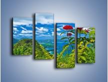 Obraz na płótnie – Bordowe kwiaty w górskim krajobrazie – czteroczęściowy KN561W2