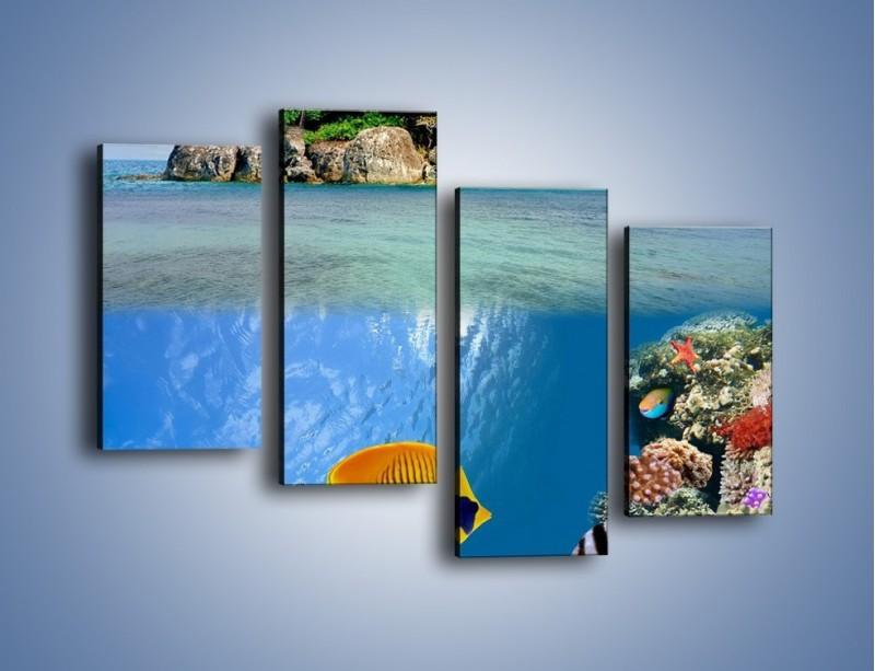 Obraz na płótnie – Podwodny świat na wyspie – czteroczęściowy KN586W2