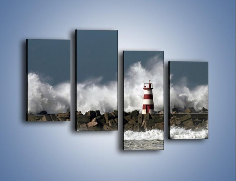 Obraz na płótnie – Latarnia morska w sztormie – czteroczęściowy KN626W2