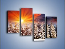 Obraz na płótnie – Choinki w środku zimy – czteroczęściowy KN682W2