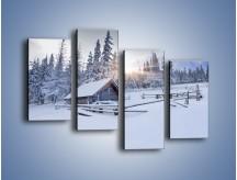 Obraz na płótnie – Chatka zatopiona w śniegu – czteroczęściowy KN696W2