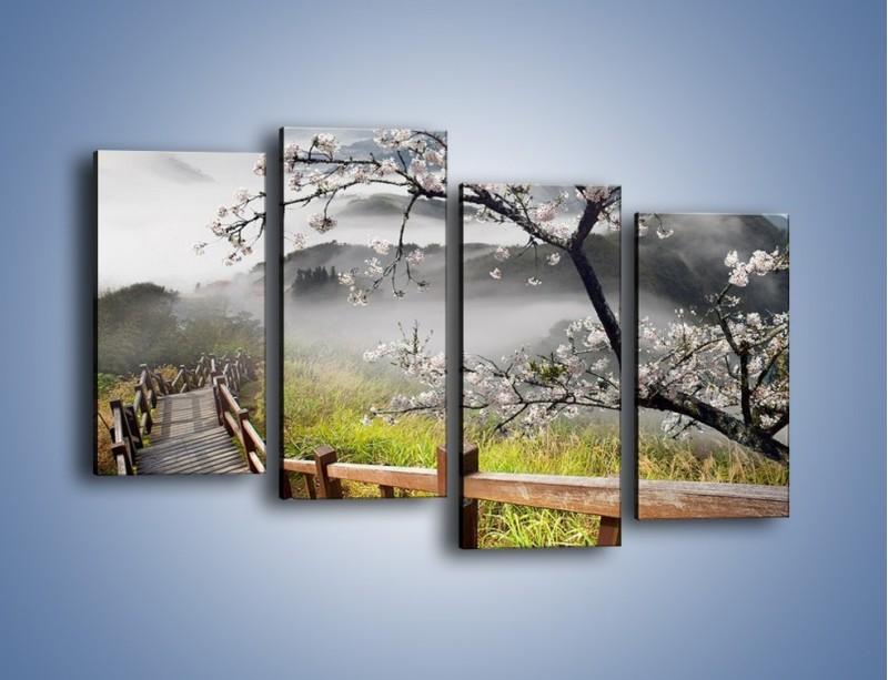 Obraz na płótnie – Drzewo wiśni i kręte schody – czteroczęściowy KN698W2