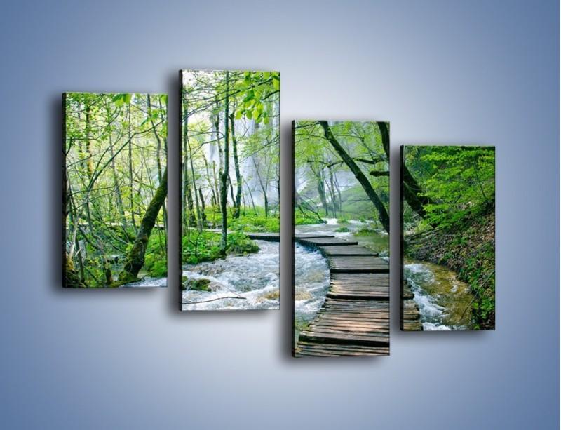 Obraz na płótnie – Drewniana kładką przez potok – czteroczęściowy KN720W2