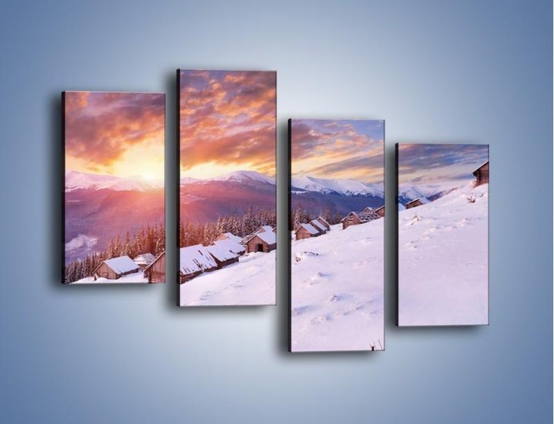 Obraz na płótnie – Chatka w śnieżnym dywanie – czteroczęściowy KN725W2