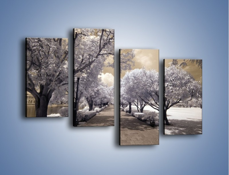 Obraz na płótnie – Parkowa aleja w sepii – czteroczęściowy KN734W2