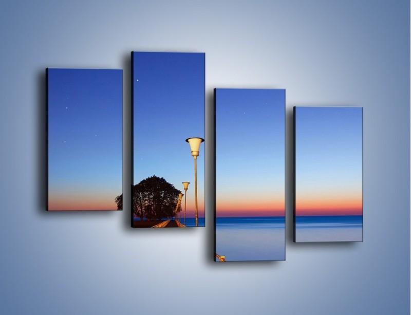 Obraz na płótnie – Wieczorny spacer po tafli morza – czteroczęściowy KN759W2