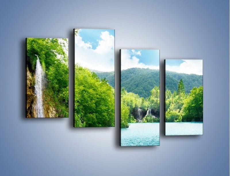 Obraz na płótnie – Cały urok górskich wodospadów – czteroczęściowy KN769W2