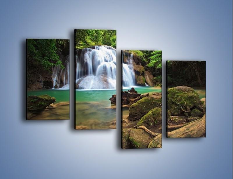Obraz na płótnie – Drzewa schowane za wodospadem – czteroczęściowy KN792W2
