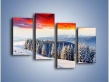 Obraz na płótnie – Cały urok gór zimą – czteroczęściowy KN805W2