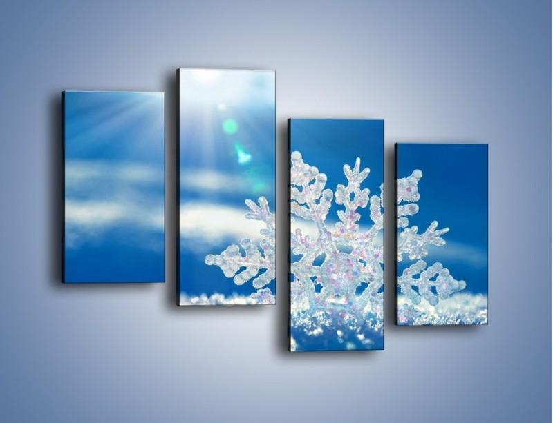 Obraz na płótnie – Diamentowa śnieżynka – czteroczęściowy KN808W2