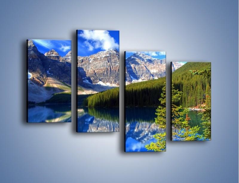 Obraz na płótnie – Góry i ich wodne odbicie – czteroczęściowy KN839W2