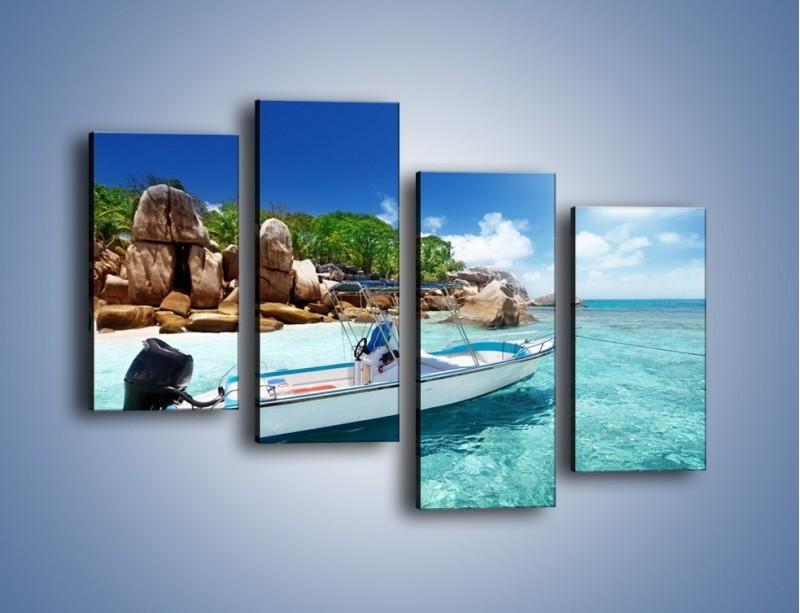 Obraz na płótnie – Błękit w wodzie i niebie – czteroczęściowy KN852W2