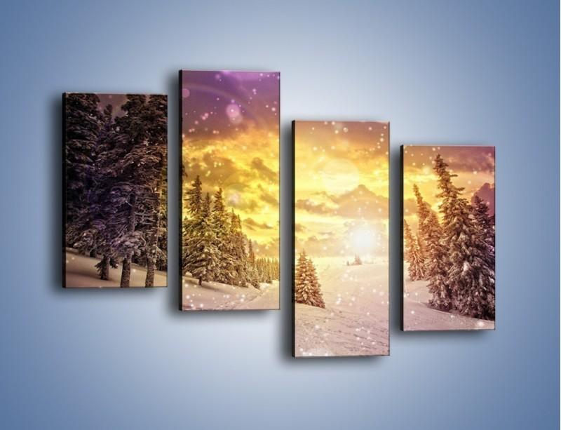 Obraz na płótnie – Śnieżna kraina – czteroczęściowy KN868W2