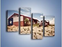 Obraz na płótnie – Autem przez texas – czteroczęściowy KN874W2