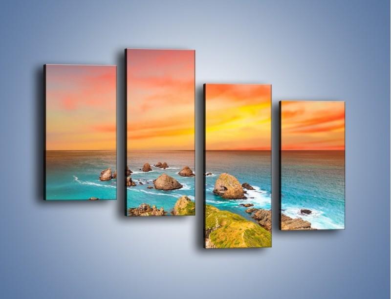 Obraz na płótnie – Kolory rozpalonego nieba nad wodą – czteroczęściowy KN879W2