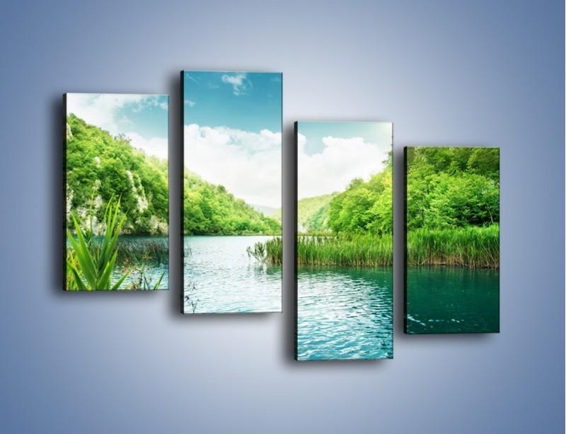 Obraz na płótnie – Wodnym śladem wśród zieleni – czteroczęściowy KN884W2