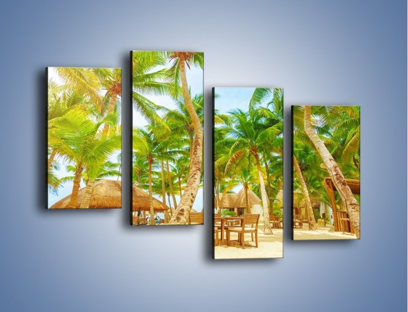 Obraz na płótnie – Słoneczna sjesta pod palmami – czteroczęściowy KN886W2