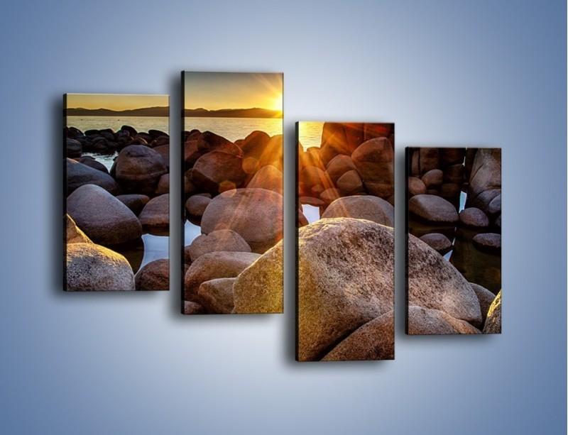 Obraz na płótnie – Kamienna wyspa w słońcu – czteroczęściowy KN888W2