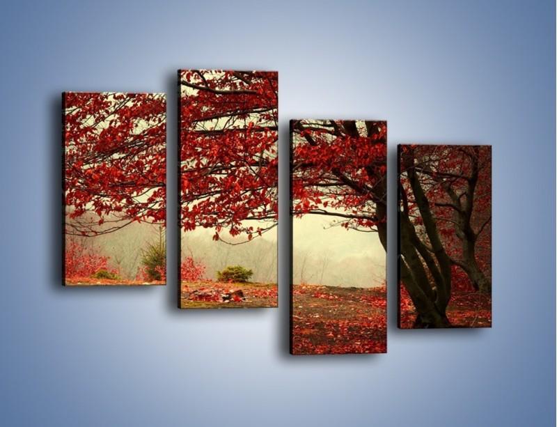 Obraz na płótnie – Spadające liście z drzew – czteroczęściowy KN910W2