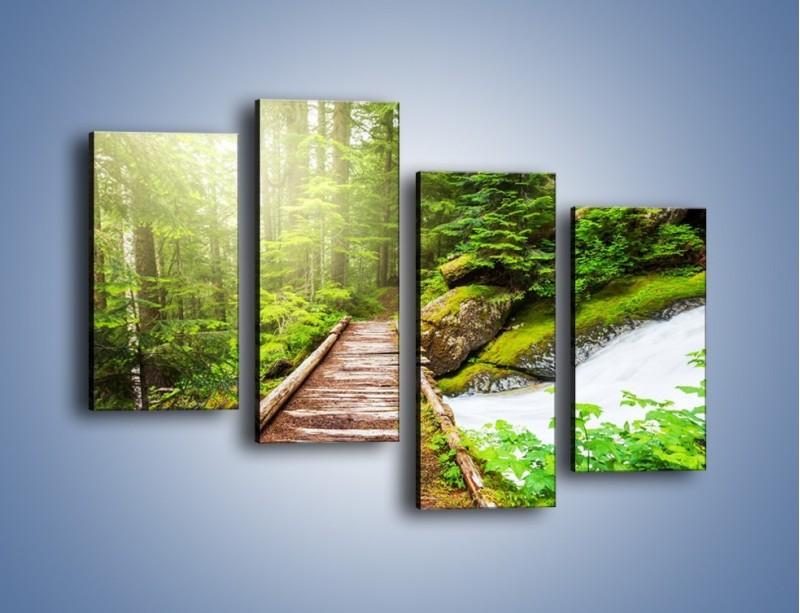 Obraz na płótnie – Bezpieczna droga przez las – czteroczęściowy KN922W2