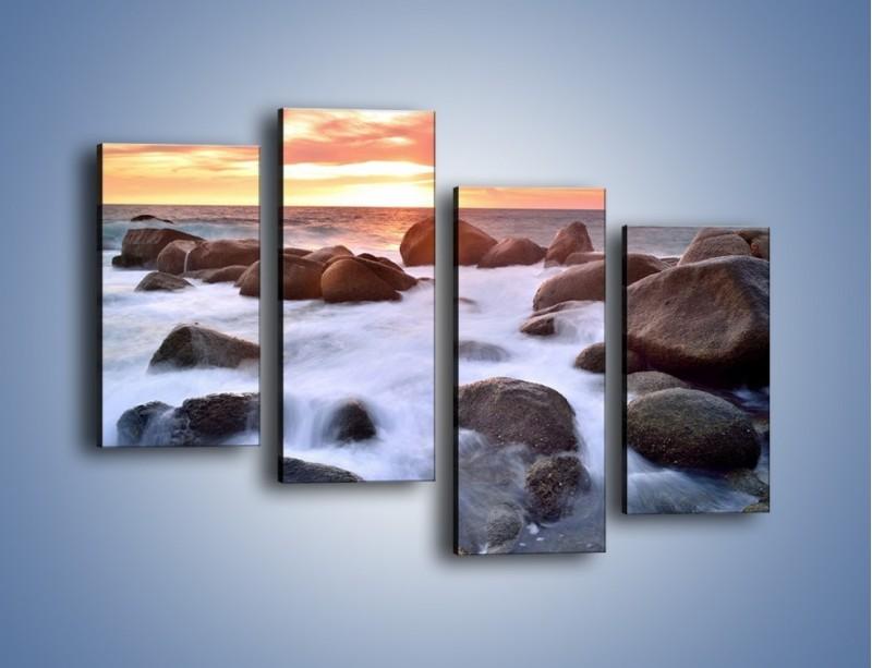 Obraz na płótnie – Kamienie zatopione w morzu – czteroczęściowy KN930W2