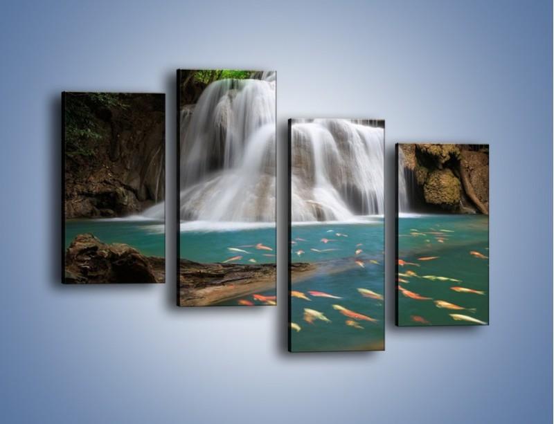 Obraz na płótnie – Wodospad i kolorowe rybki – czteroczęściowy KN994W2