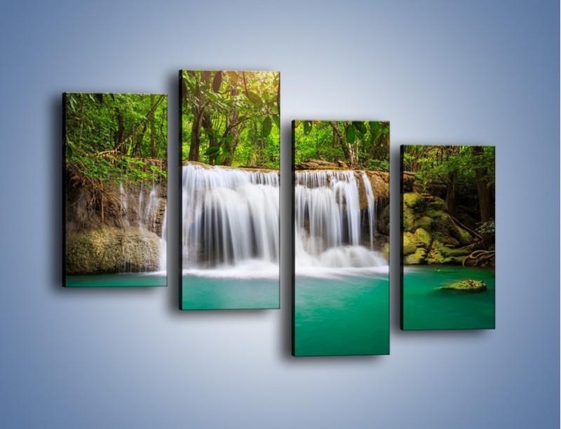 Obraz na płótnie – Kąpiel w środku lasu – czteroczęściowy KN995W2