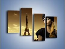 Obraz na płótnie – Czarna dama w paryżu – czteroczęściowy L114W2