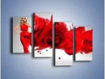 Obraz na płótnie – Czerwona róża i kobieta – czteroczęściowy L144W2