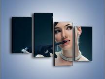 Obraz na płótnie – Czarna dama w diamentach – czteroczęściowy L171W2