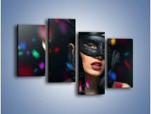 Obraz na płótnie – Bal w czarnych maskach – czteroczęściowy L177W2