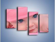 Obraz na płótnie – Bobas w różowej czapeczce – czteroczęściowy L256W2