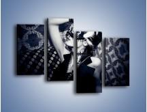 Obraz na płótnie – Czarno-biała dama – czteroczęściowy L315W2