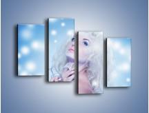 Obraz na płótnie – Biała dama i światełka – czteroczęściowy L318W2