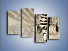 Obraz na płótnie – Głos w srebrnym mikrofonie – czteroczęściowy O026W2