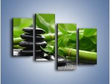 Obraz na płótnie – Czarne kamienie wśród bambusów – czteroczęściowy O137W2