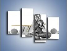 Obraz na płótnie – Budda wśród szarości – czteroczęściowy O220W2