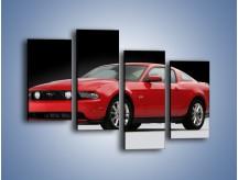 Obraz na płótnie – Czerwony Ford Mustang GT – czteroczęściowy TM052W2