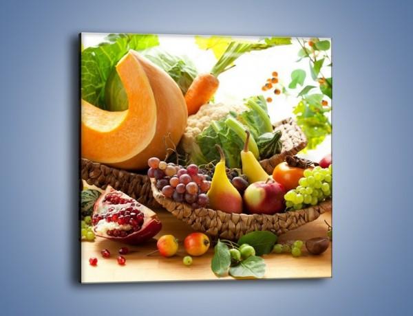 Obraz na płótnie – Owocowy stół w kolorach tęczy – jednoczęściowy kwadratowy JN305