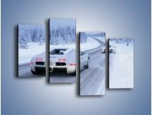 Obraz na płótnie – Bugatti Veyron w śniegu – czteroczęściowy TM134W2