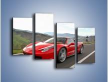 Obraz na płótnie – Czerwone Ferrari 458 Italia – czteroczęściowy TM194W2