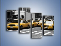 Obraz na płótnie – Amerykańskie taksówki w korku ulicznym – czteroczęściowy TM219W2