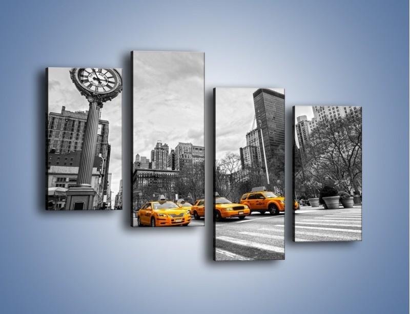 Obraz na płótnie – Żółte taksówki na szarym tle miasta – czteroczęściowy TM225W2