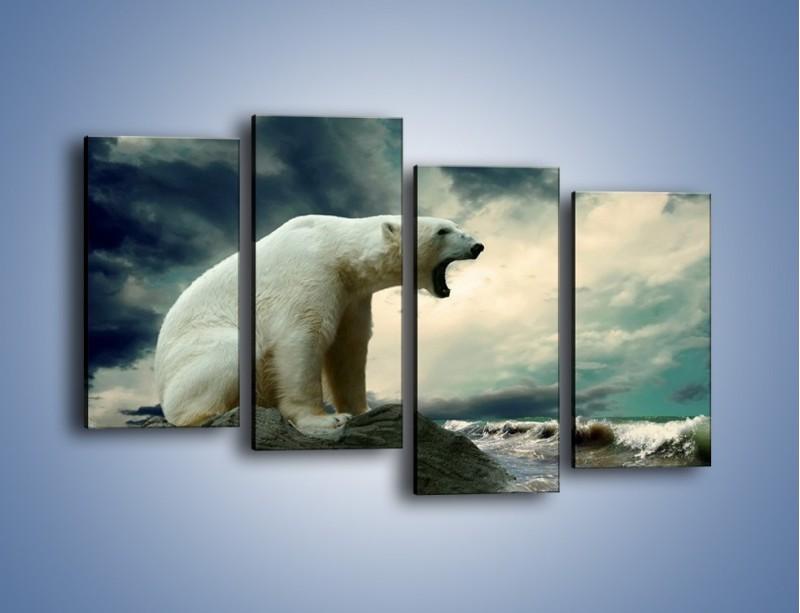 Obraz na płótnie – Donośny krzyk polarnego niedźwiedzia – czteroczęściowy Z114W2
