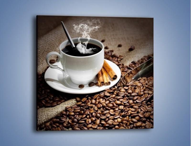 Obraz na płótnie – Czarna palona kawa – jednoczęściowy kwadratowy JN311