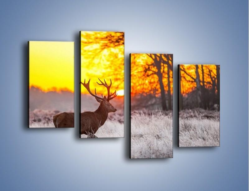 Obraz na płótnie – Jeleń o zachodzie słońca – czteroczęściowy Z164W2