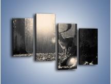 Obraz na płótnie – Jeleń w sepii – czteroczęściowy Z250W2